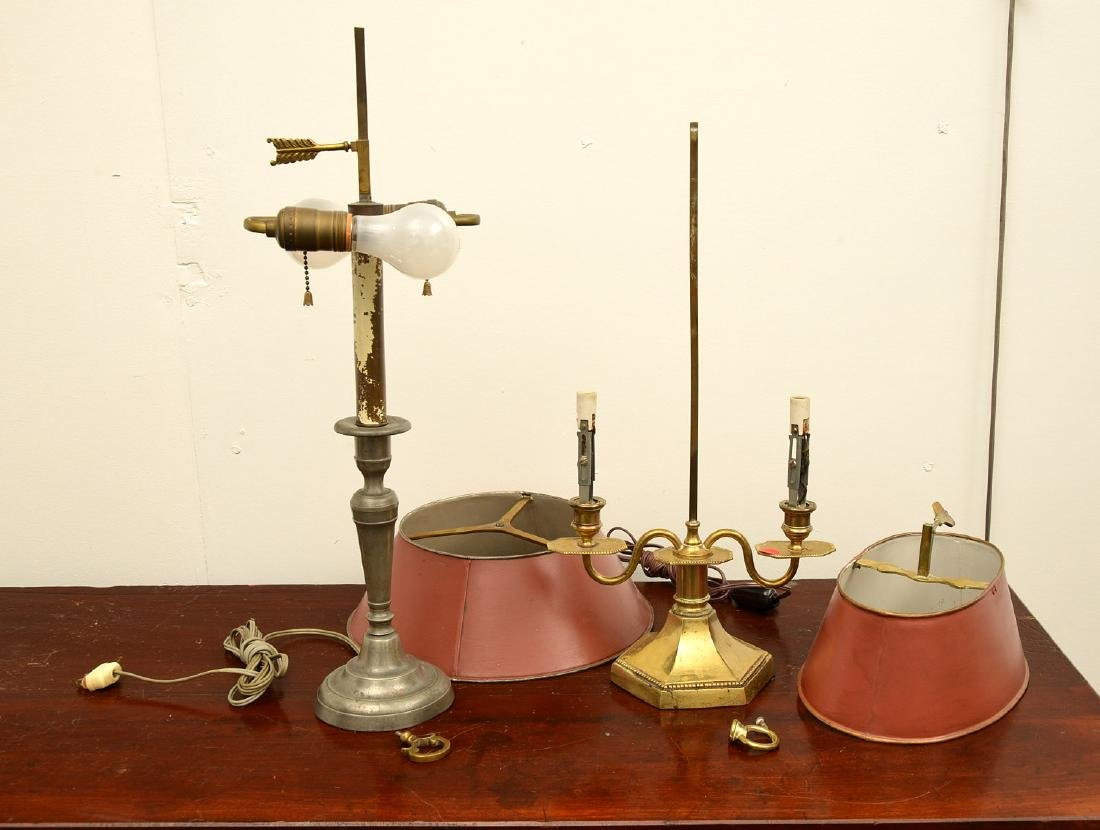 (2) Empire style bouillotte and stick lamps - 9