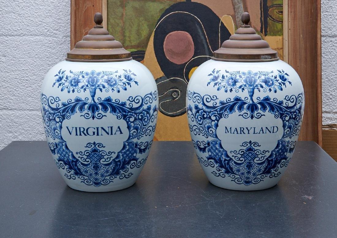 (2) Delft blue and white tobacco jars