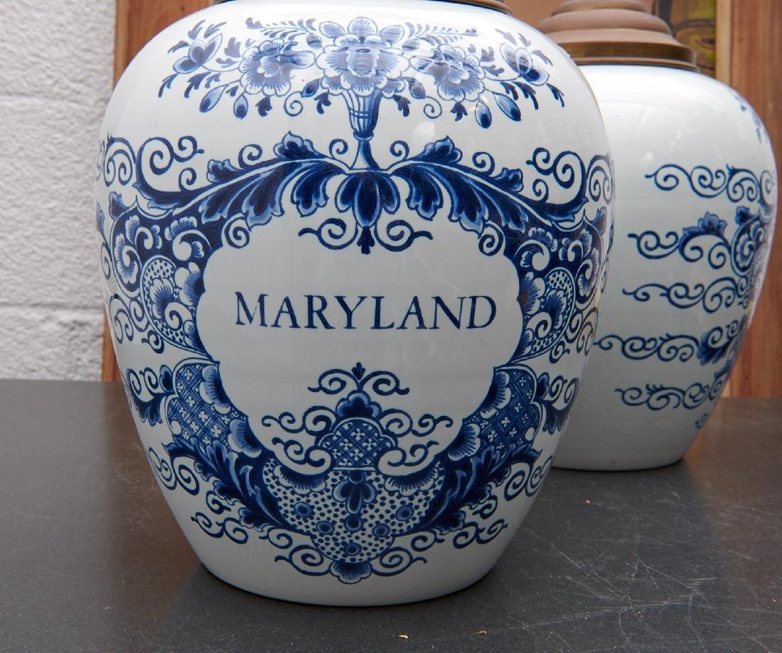 (2) Delft blue and white tobacco jars - 6