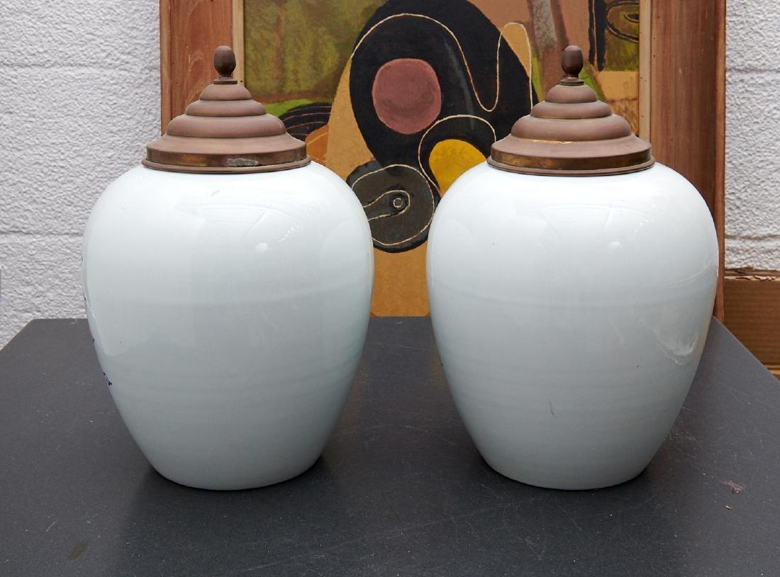 (2) Delft blue and white tobacco jars - 8