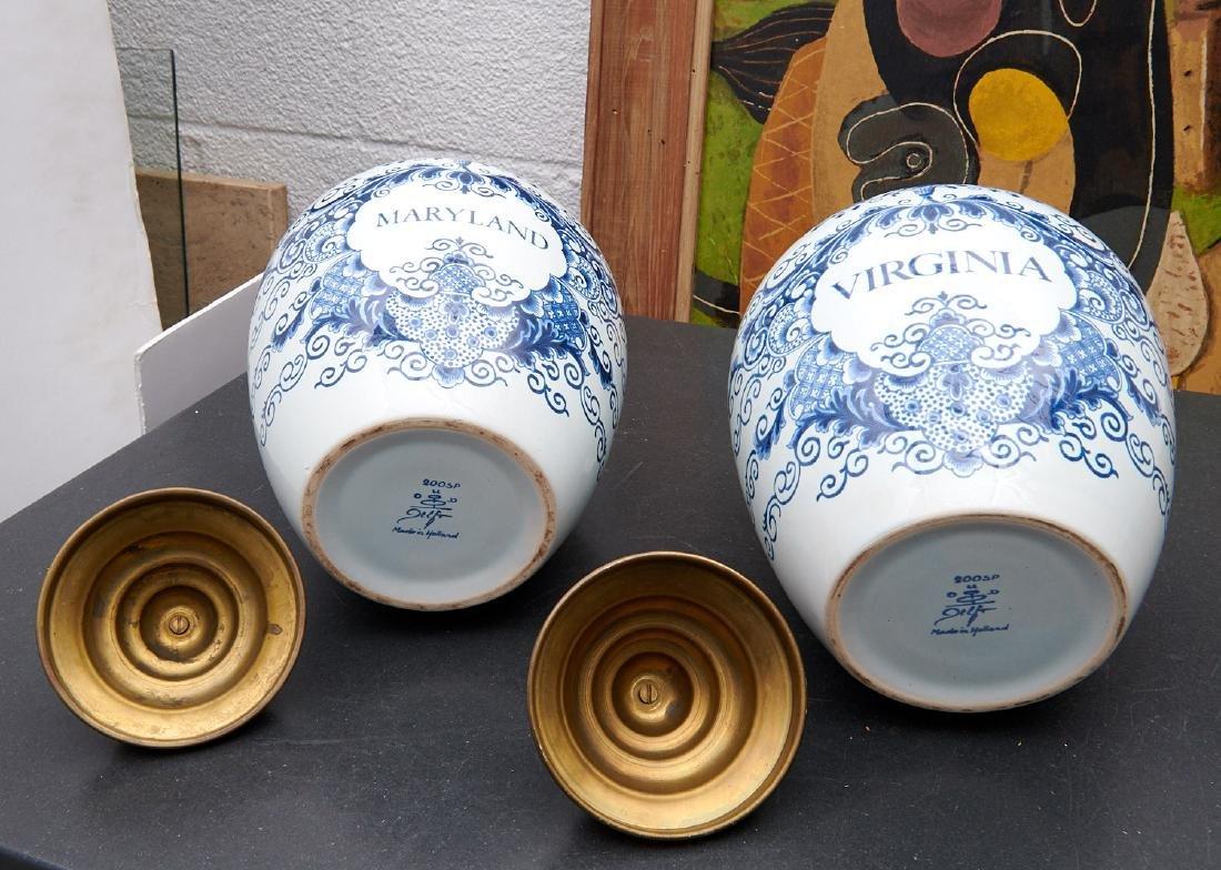 (2) Delft blue and white tobacco jars - 9