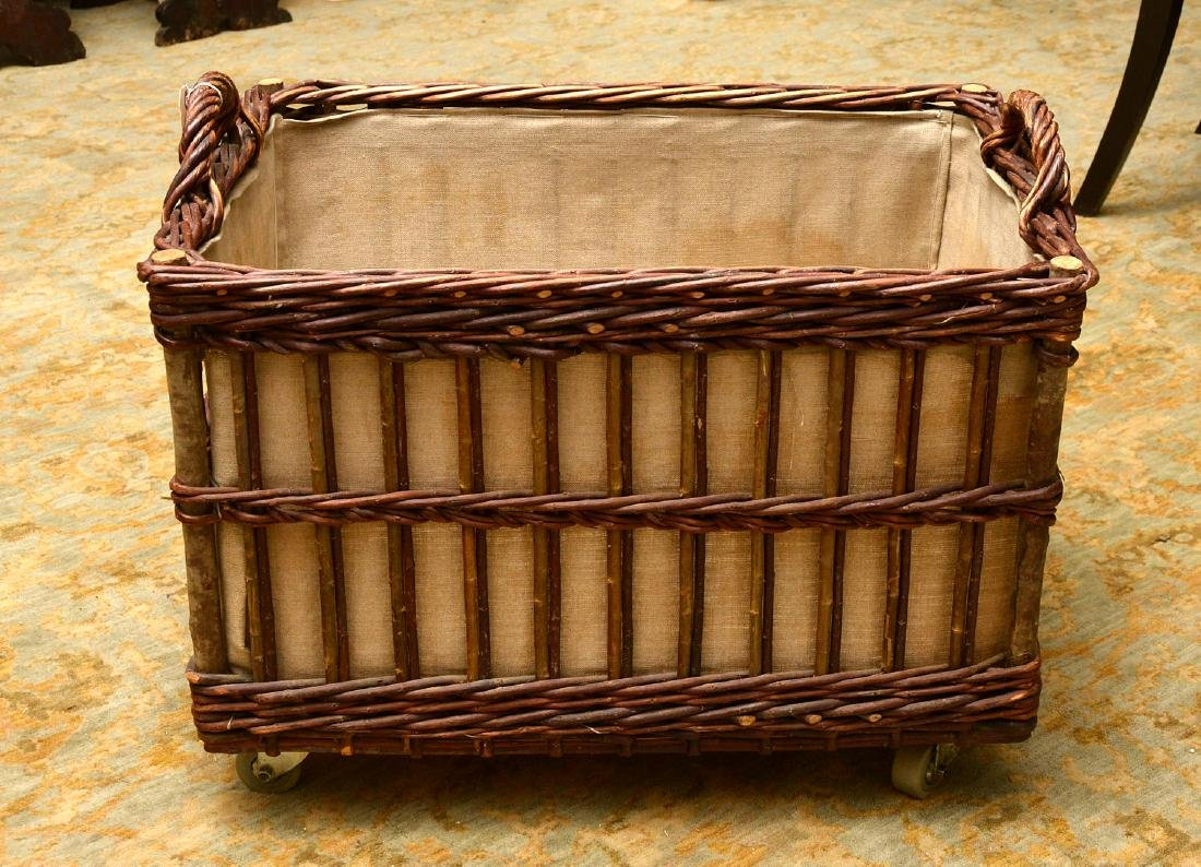 Rustic wicker and bamboo log holder