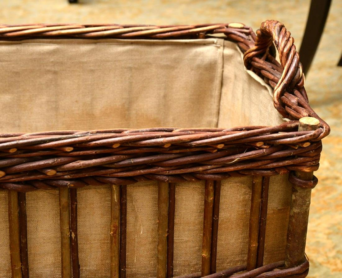 Rustic wicker and bamboo log holder - 2
