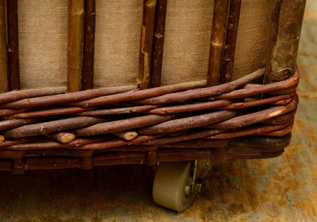 Rustic wicker and bamboo log holder - 6
