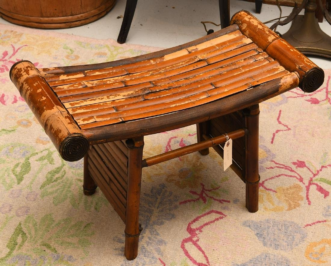 Chinese curved bamboo bench