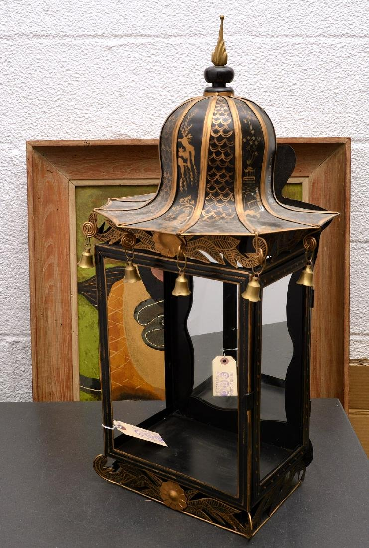 Chinoiserie gilt tole mirrored wall display