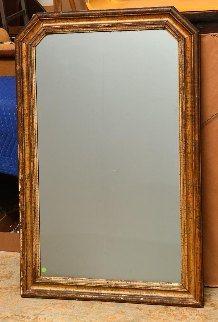 Large gilt molded frame wall mirror