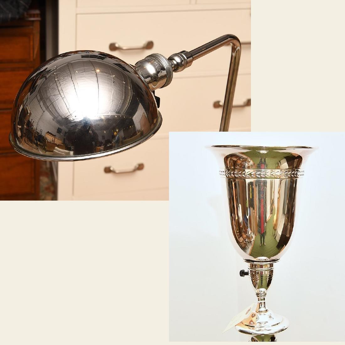 (2) Modern chrome plated floor lamps