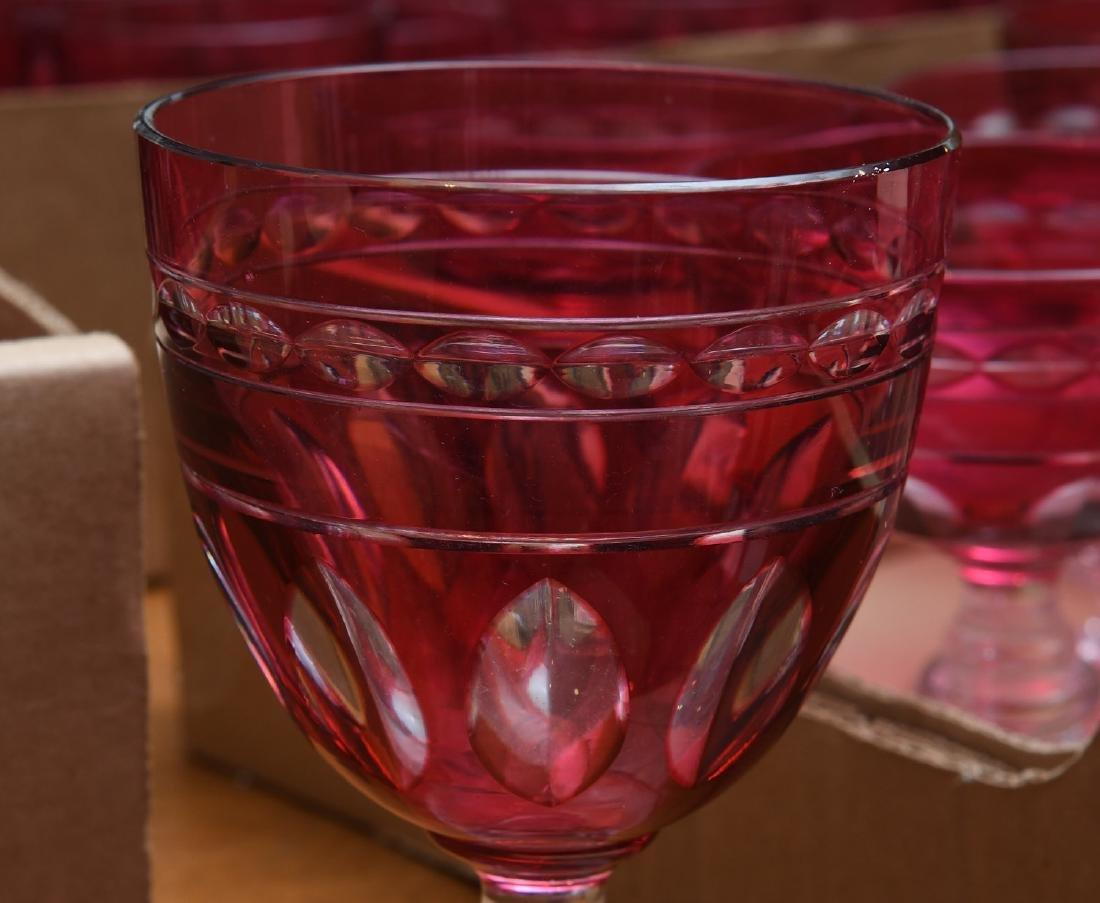 Extensive cranberry glass stemware set - 6