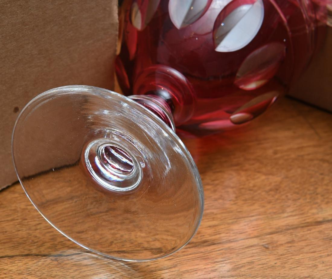 Extensive cranberry glass stemware set - 7
