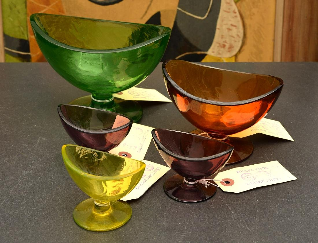 Group (5) colored art glass pedestal bowls