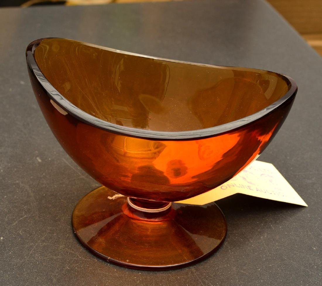 Group (5) colored art glass pedestal bowls - 4