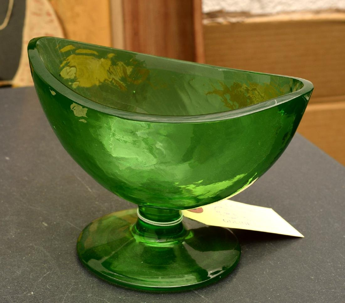 Group (5) colored art glass pedestal bowls - 6