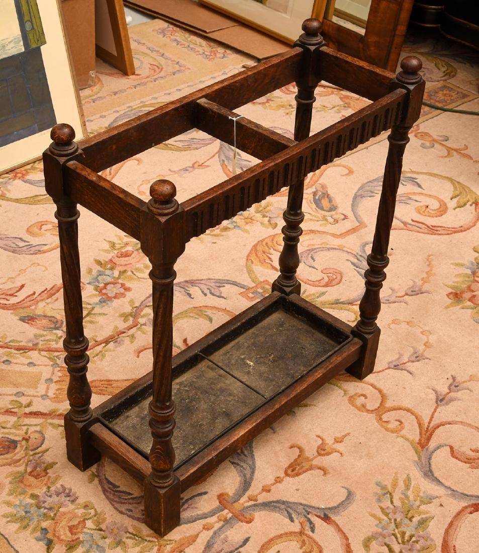 English oak umbrella or cane stand