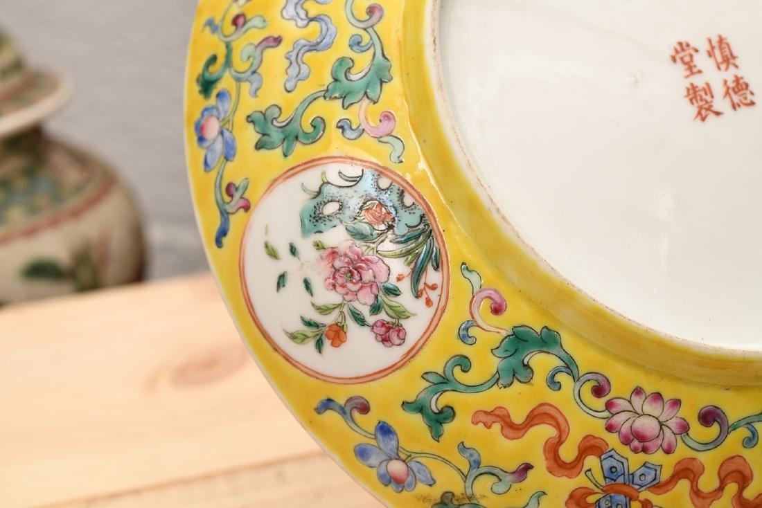 Chinese Export yellow bat and shou porcelain dish - 3