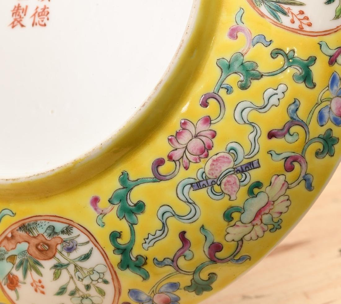 Chinese Export yellow bat and shou porcelain dish - 4