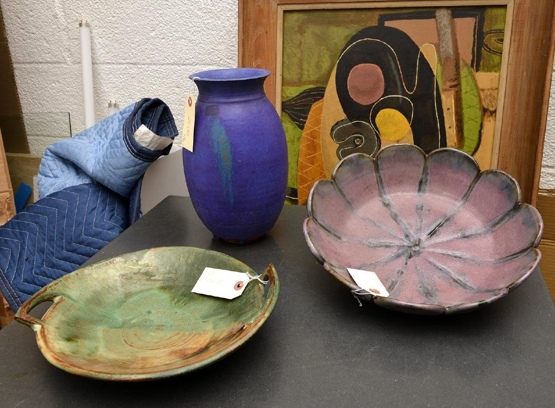 Signed studio art pottery group