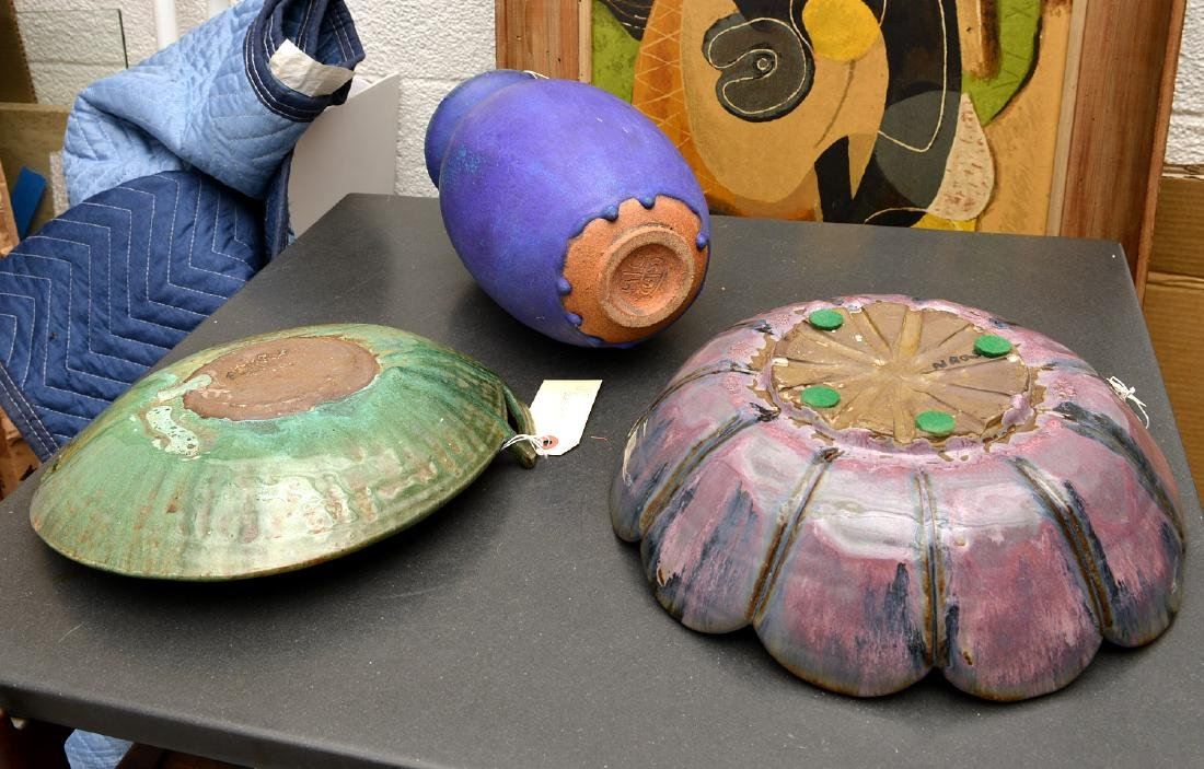 Signed studio art pottery group - 8