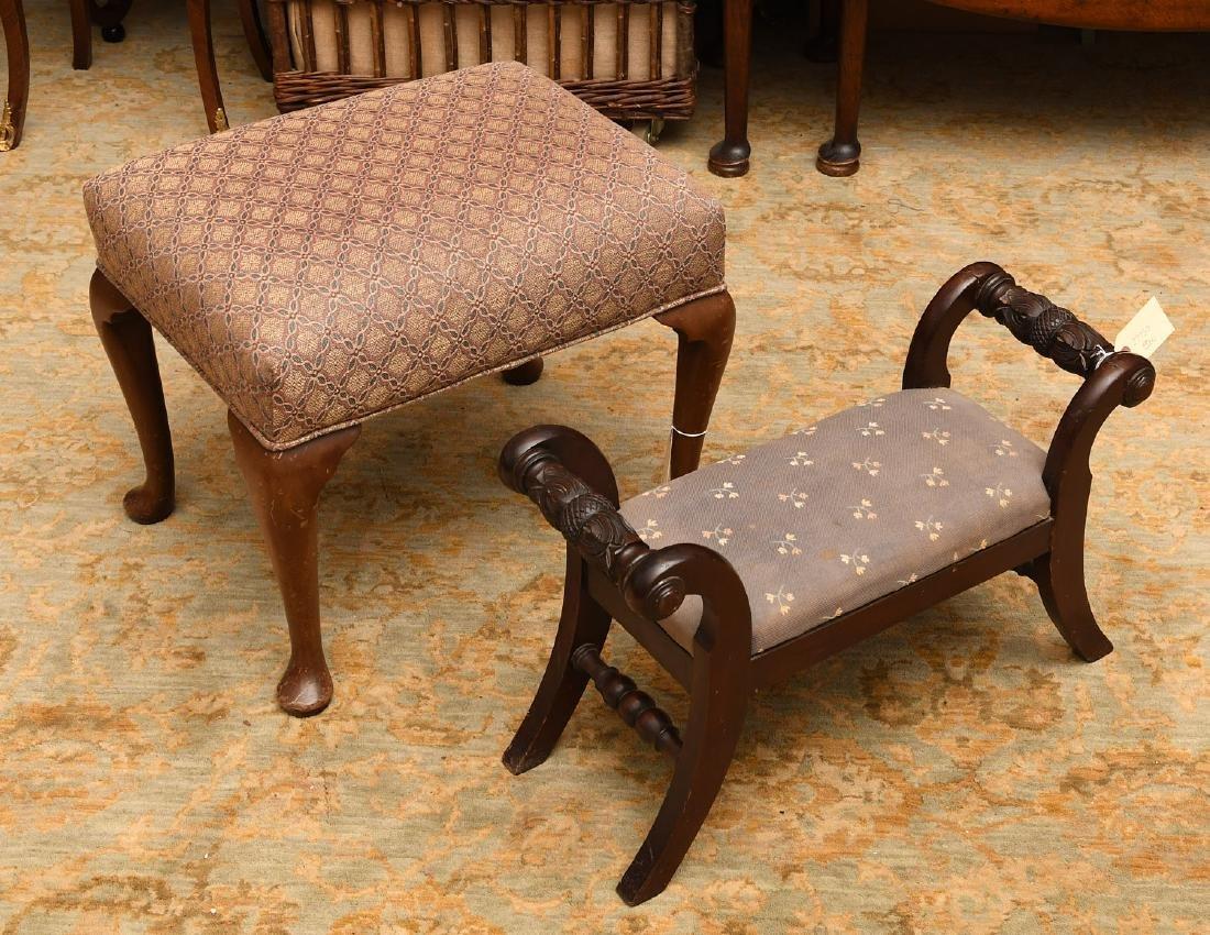 (2) nice vintage upholstered mahogany foot stools