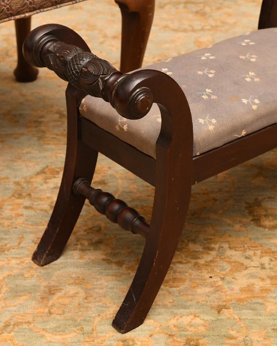 (2) nice vintage upholstered mahogany foot stools - 2
