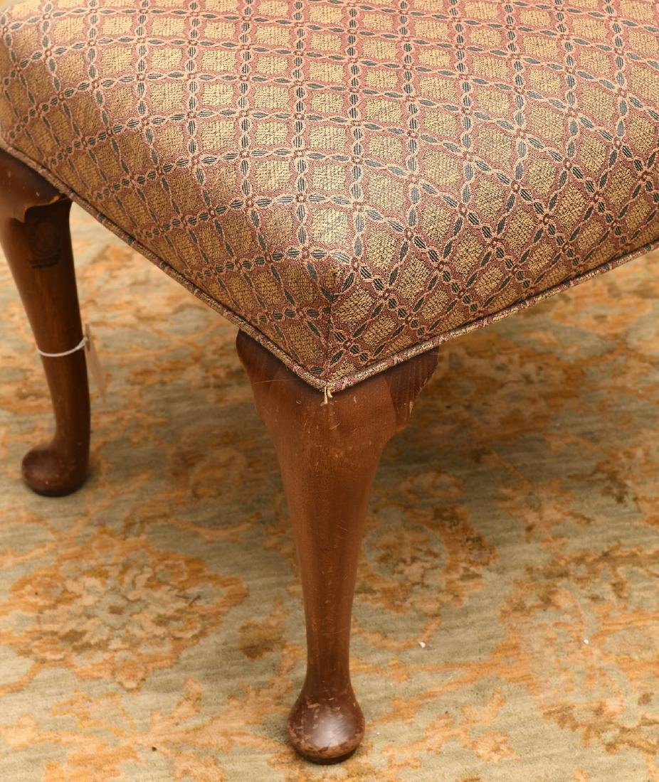 (2) nice vintage upholstered mahogany foot stools - 4