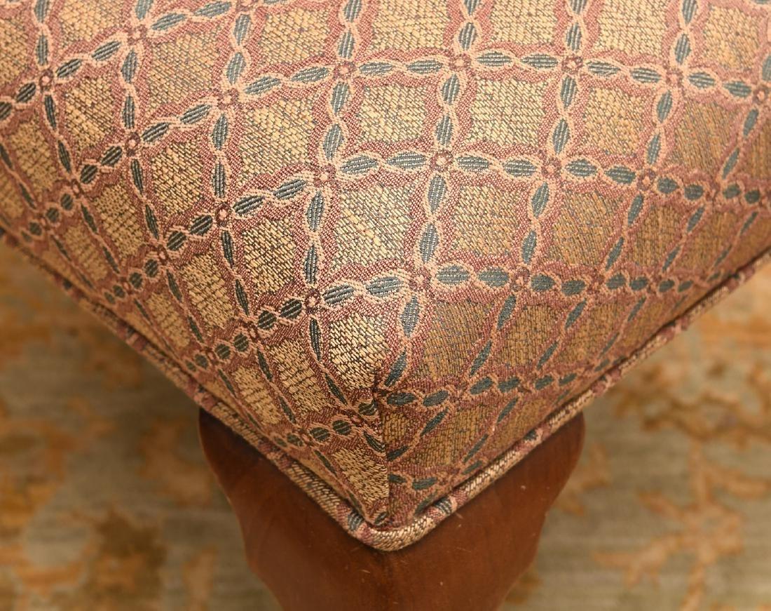 (2) nice vintage upholstered mahogany foot stools - 5