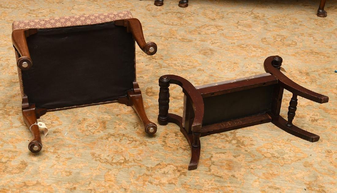 (2) nice vintage upholstered mahogany foot stools - 6