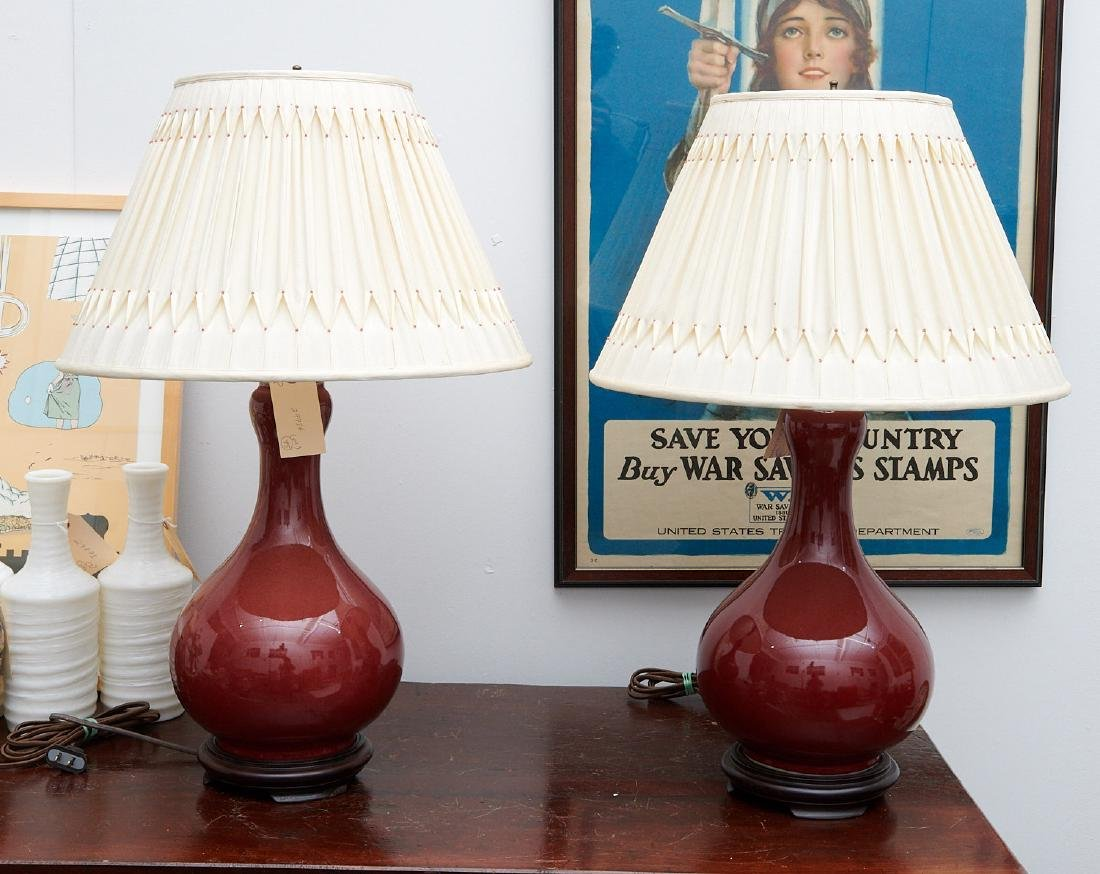 Pair Chinese oxblood vase lamps