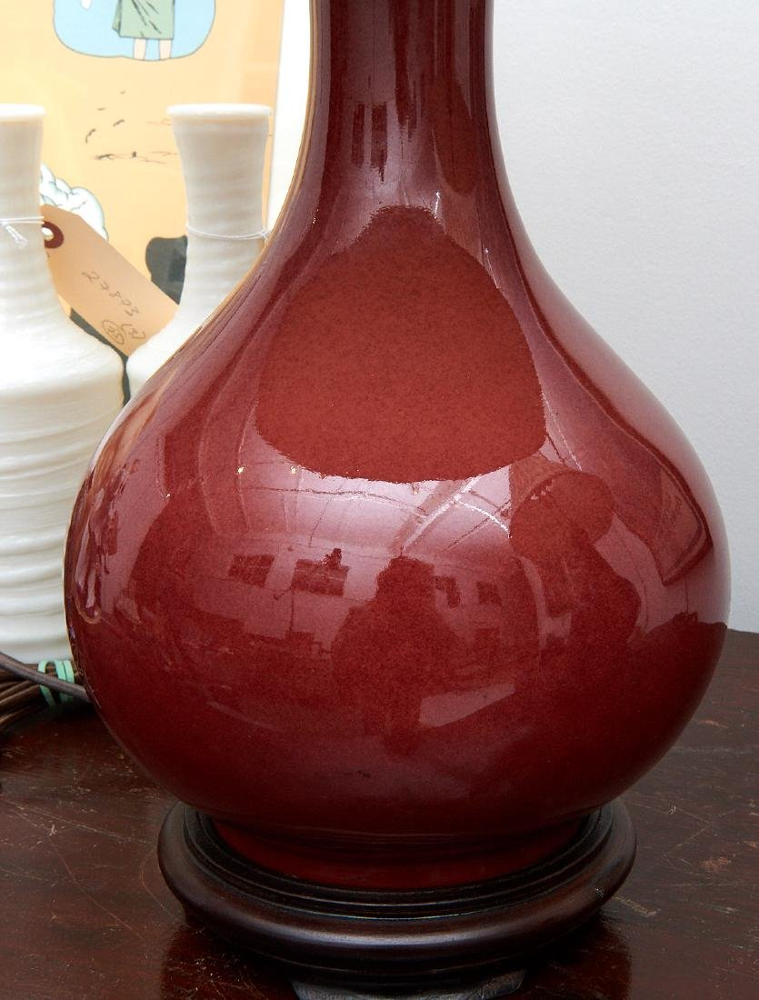 Pair Chinese oxblood vase lamps - 3