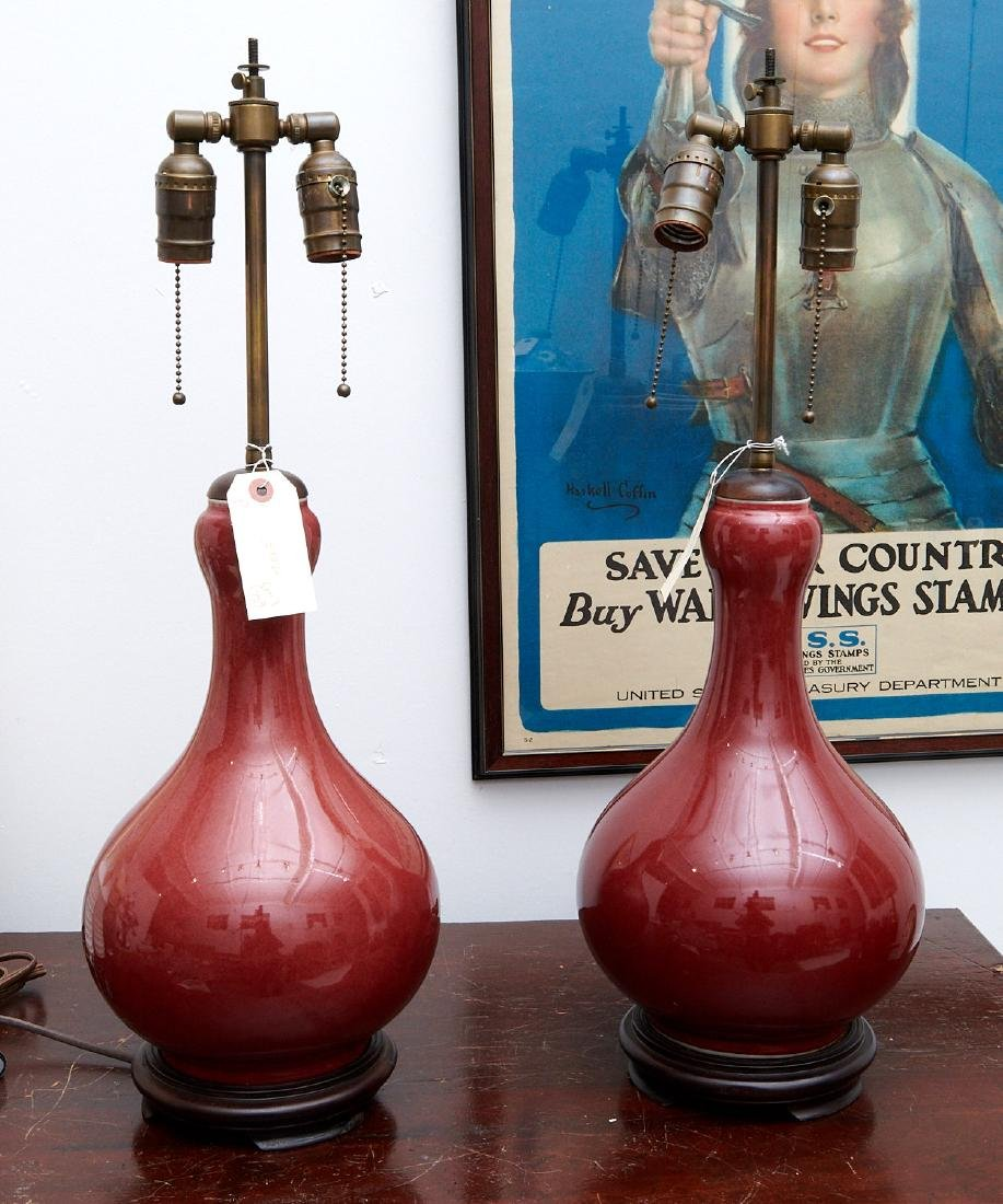 Pair Chinese oxblood vase lamps - 5