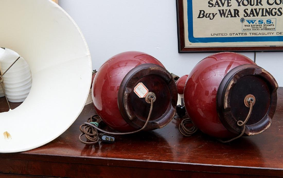 Pair Chinese oxblood vase lamps - 8