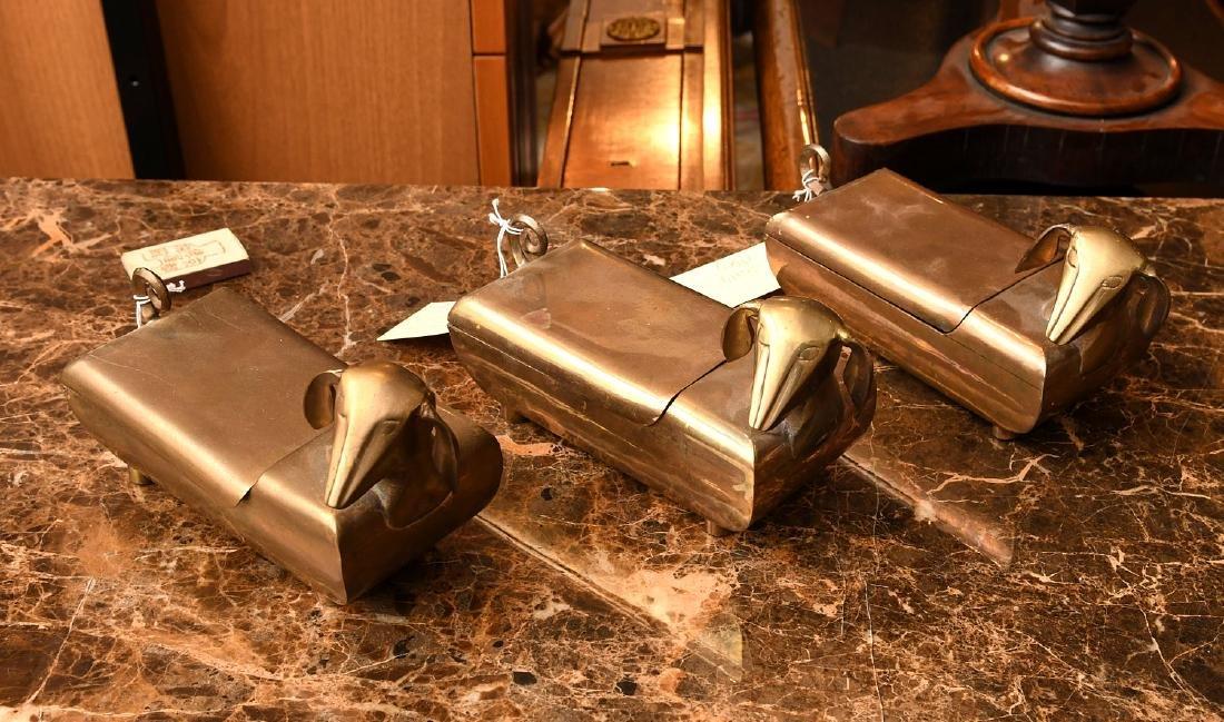 (3) Modernist brass dachshund boxes