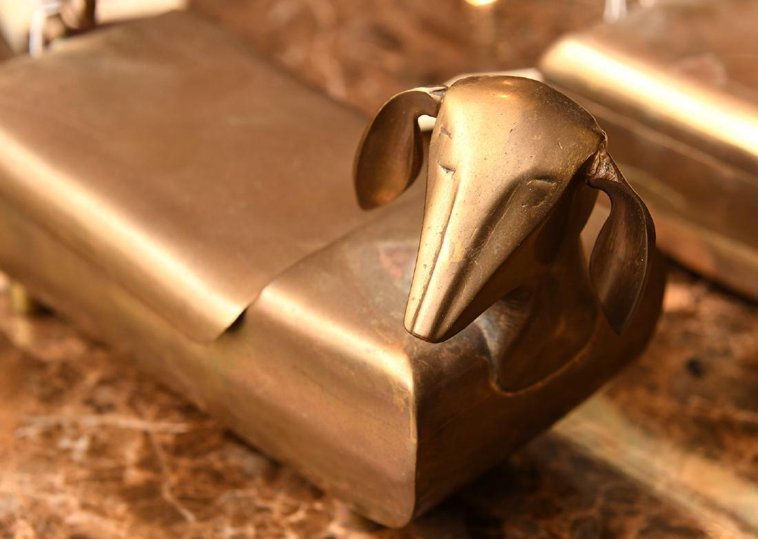 (3) Modernist brass dachshund boxes - 2
