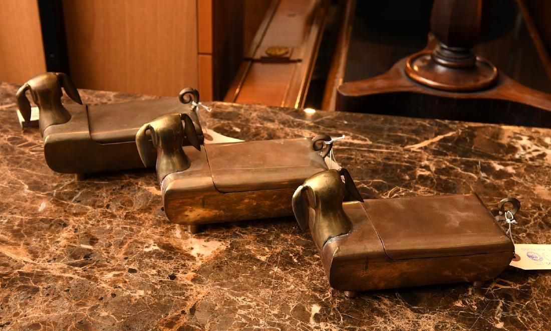 (3) Modernist brass dachshund boxes - 3