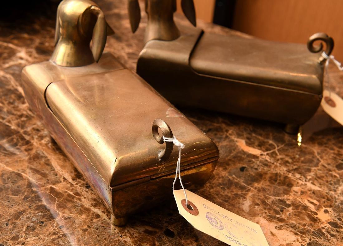 (3) Modernist brass dachshund boxes - 4