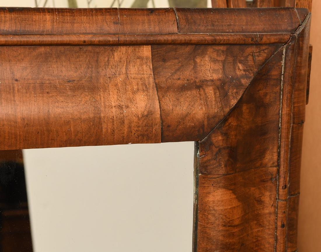 George I style walnut veneered ogee mirror - 3