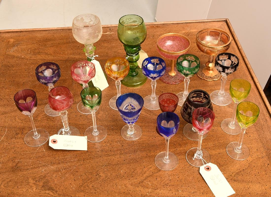Collection (20) colored glass stemware