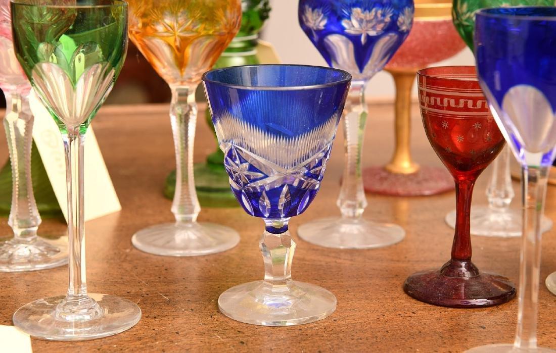 Collection (20) colored glass stemware - 3