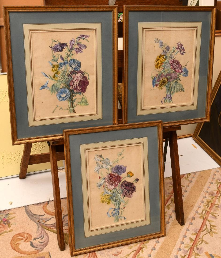 Group (3) hand-colored botanical etchings