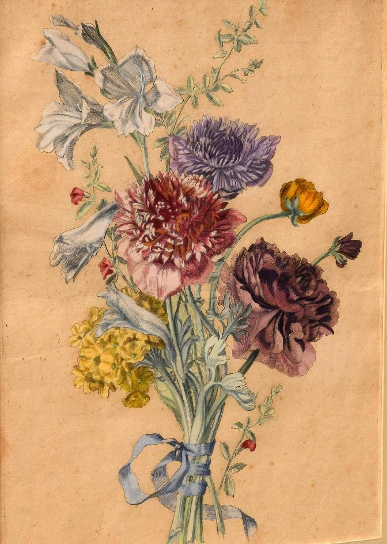 Group (3) hand-colored botanical etchings - 3