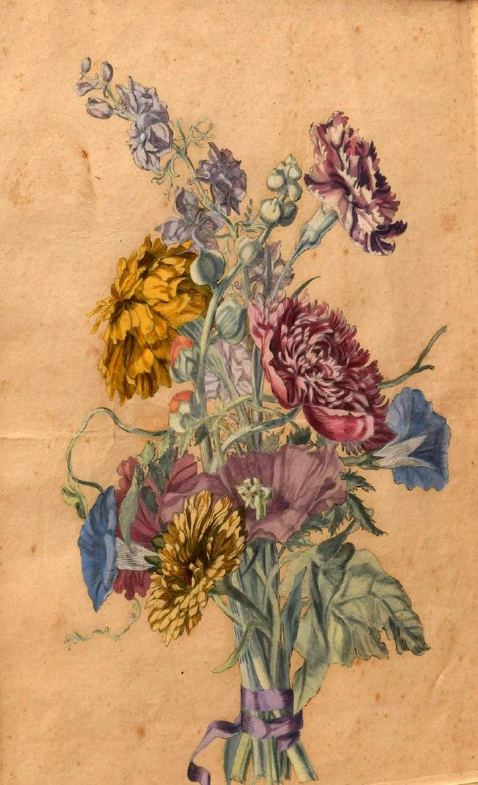 Group (3) hand-colored botanical etchings - 4