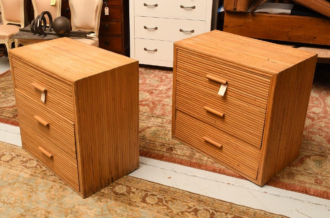 Pair Crespi style rattan chests of drawers