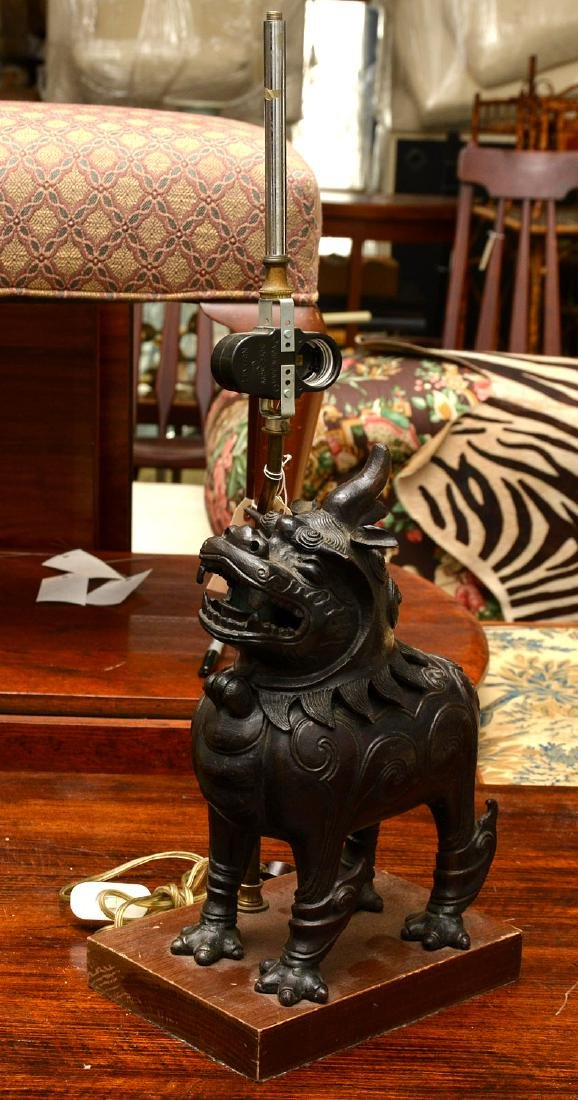 Chinese Ming style bronze foo dog censer
