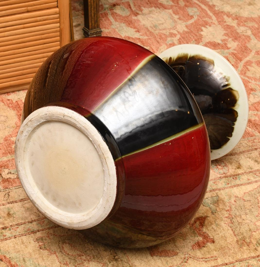 Chinese flambe glazed porcelain floor vase - 5