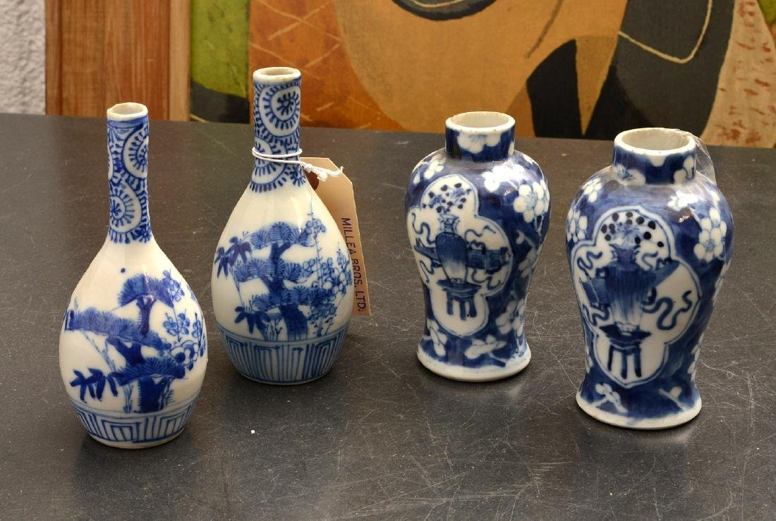 (2) pairs Chinese blue and white cabinet vases