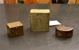 Chinese ink box and (2) Japanese mixed metal boxes
