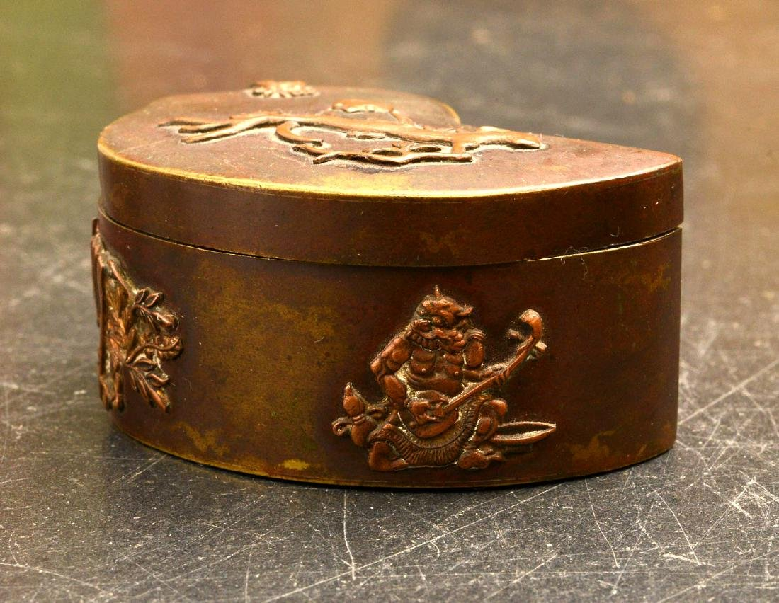 Chinese ink box and (2) Japanese mixed metal boxes - 2
