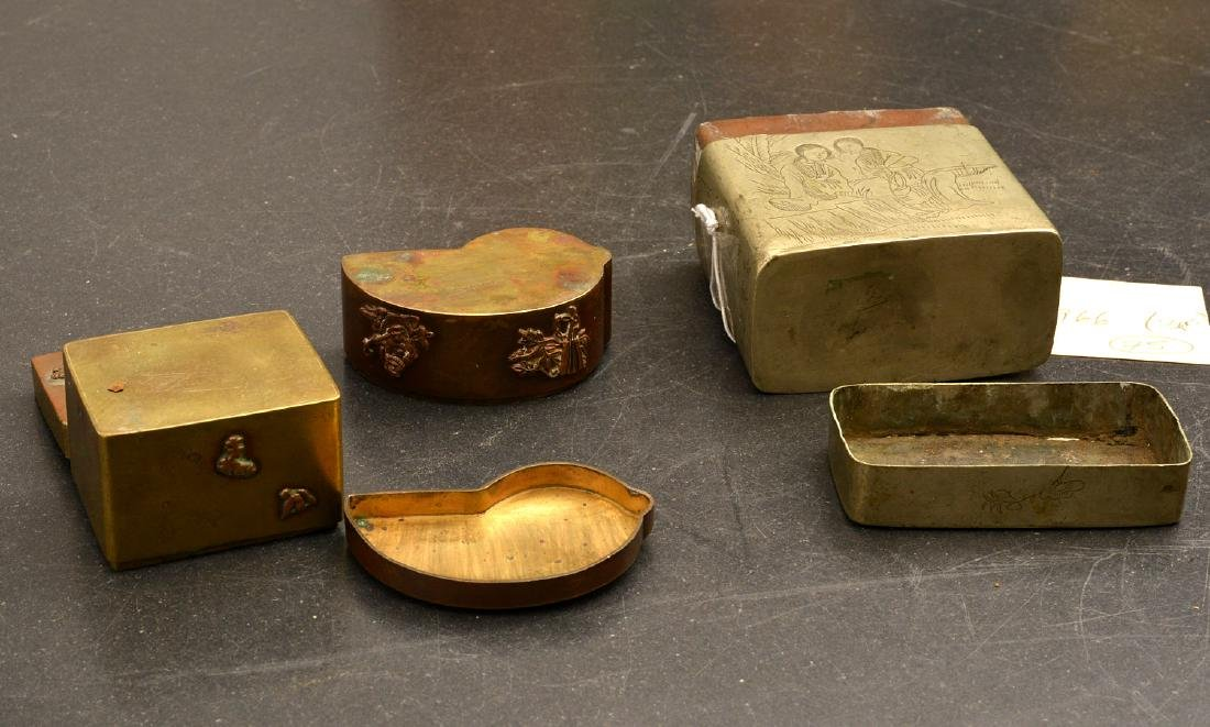 Chinese ink box and (2) Japanese mixed metal boxes - 9