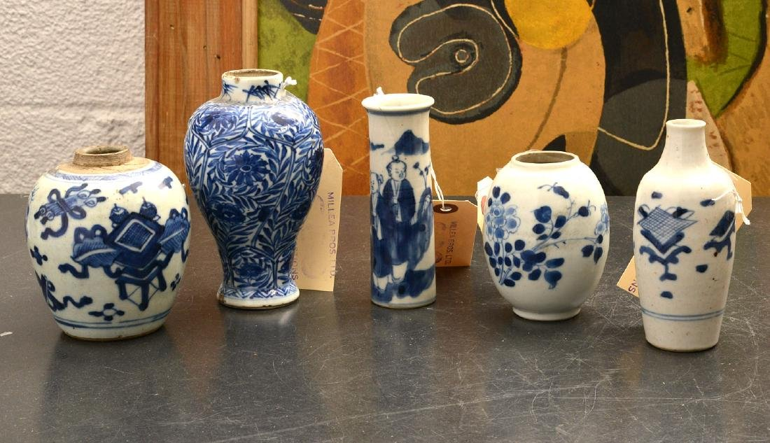 (5) Chinese blue & white porcelain vases and jars