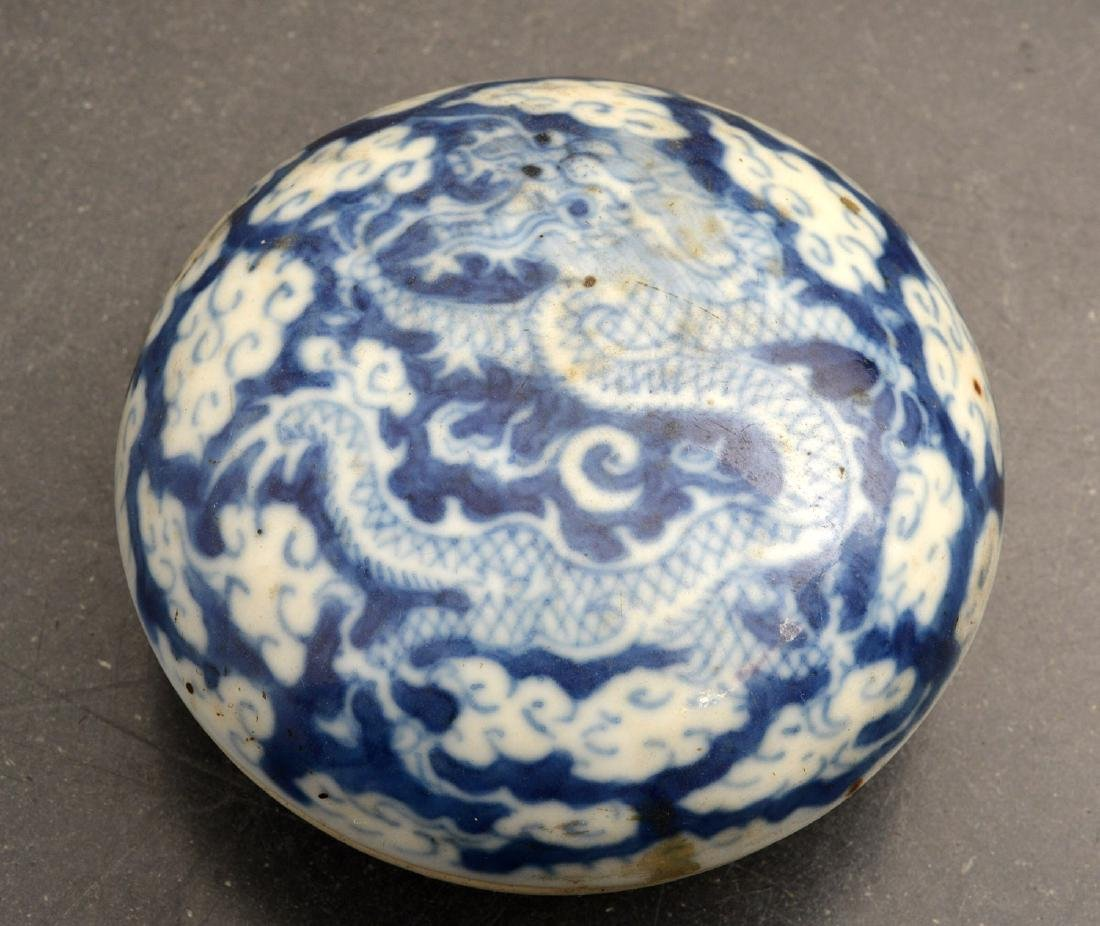 (3) Chinese blue and white porcelain dragon boxes - 6